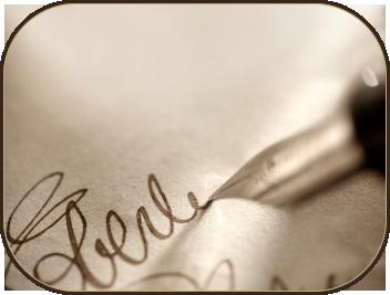 Testimonials written with fountain pen